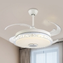 Round Bedroom LED Ceiling Fan Prismatic Crystal Minimalist Semi Flush Light in White