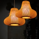 Gourd Suspension Lamp Asian Style 1 Head Handwoven Bamboo Ceiling Pendant Light for Teahouse
