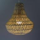 1 Light Gourd Ceiling Pendant Light Modern Wooden Hanging Lamp in Beige for Entryway