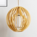 Wooden Globe/Hat Hanging Ceiling Light 1 Light Nordic Pendant Lamp with Adjustable Cord