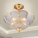 Prismatic Glass Bowl Ceiling Lighting Colonial 3 Heads Dining Room Semi Flush Mount Light Fixture in Brass