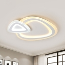 White Dual Triangle Ceiling Lamp Minimalist LED Acrylic Flush Light Fixture in Warm/White/3 Color Light