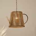 1 Light Kettle Hanging Light Chinese Style Bamboo Ceiling Pendant Light in Natural Wood with Hanging Chain