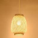 Handwoven Lantern Pendant Lamp Asian Style Single Light 8.5