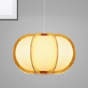 Simple Modern Lantern Hanging Light 1 Light Wooden Dining Room Pendant Light with Plastic Shade