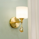 Brass 1/2-Bulb Wall Sconce Light Modern Stylish White Glass Drum Wall Mount Lamp with Amber Crystal Accent