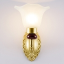Milk Glass Floral Wall Sconce Fixture Traditional Style 1/2-Light Corridor Wall Lighting in Gold