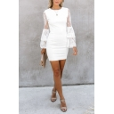 Plain Elegant Ladies' Tiered Sleeve Crew Neck Floral Embroidered Sheer Lace Short Bodycon Dress