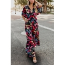 Women's Pretty Bell Sleeve V-Neck Floral Print Bow Tie Waist Maxi Flowy Dress in Black