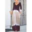 Female Casual Simple Long Sleeve V-Neck Open Back Contrast Pleated Oversize Maxi Swing Dress in Maroon