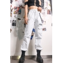Street Cool Girls' Elastic Waist Letter ROCK MORE Chain Pocket Cuffed Ankle Plain Relaxed Trousers