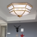 Cream Glass Brass Ceiling Fixture Scallop 3/4 Bulbs Colonialist Flush Mount Lighting for Living Room