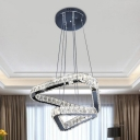 Nickel LED Drop Pendant Light Simple Crystal Triangle Hanging Chandelier for Living Room