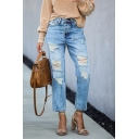 Light Blue Cool Exclusive Mid Rise Distressed Bleach Slim Fit Ankle Straight Jeans for Girls