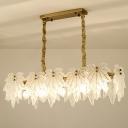 Modernist Rectangle Island Chandelier White Leaf-Shaped Glass 5 Heads LED Dining Room Hanging Light