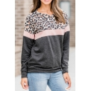 Womens Fashionable Leopard Printed Color Block Long Sleeve Casual Pullover Sweatshirt