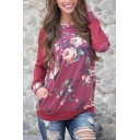 Womens Chic Red Flower Printed Elbow Patch Long Sleeve Pullover Sweatshirt Top