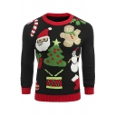 Men's Santa Snowman Candy Pattern Long Sleeve Contrast Trim Black Ugly Christmas Sweater