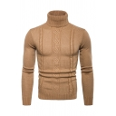 Solid Color Long Sleeve Roll Neck Cable Jacquard Knit Fitted Pullover Sweater for Men