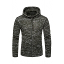Mens New Fashion Plain Long Sleeve Zip Up Slim Fit Striped Marbled Knitted Hooded Cardigan Hoodie