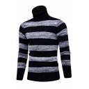 Mens Casual Striped Purl Knit Turtle Neck Long Sleeve Fitted Slim Black and Gray Pullover Warm Sweater
