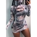 Womens Stylish Dragon Printed Long Sleeve High Collar Slim Fit Casual White Mini Tulle Dress