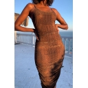 Womens Popular Brown Snake Skin Printed Slim Fit Midi Party Slip Dress