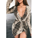 Womens Classic Snakeskin Printed Long Sleeve Deep V-Neck Knot Front Mini Fitted Wrap Dress