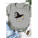 Halloween Cat Printed Rolled Sleeve Round Neck Loose Summer T-Shirt for Women