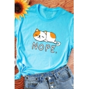 Womens Leisure Letter NOPE Cat Printed Short Sleeve Casual Graphic T-Shirt