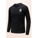 Fashionable Cartoon Applique Long Sleeve Round Neck Black Knitted Pullover Sweater