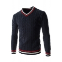Mens Casual Contrast Striped Panel V-Neck Long Sleeve Slim Fit Casual Cable Knit Pullover Sweater