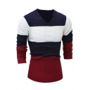 Mens Classic Striped Printed Long Sleeve V Neck Fitted Pullover Sweater Knitwear