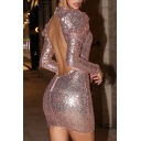 Sexy Plain Glitter Hollow-Out Front Puff Long Sleeve Backless Mini Sequined Bodycon Dress for Party