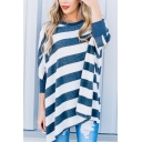 Womens Simple Colorblocked Stripes Round Neck Batwing Long Sleeve Casual Oversized T-Shirt