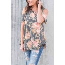 Womens Retro Floral Pattern Cold Shoulder Short Sleeves V-Neck Loose Tee Summer Top