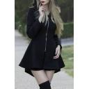 Womens Simple Punk Plain Black Long Sleeve Zip Placket Mini A-Line Hooded Dress for Party