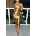 Ladies Sexy Fashion Gold Metallic Ruched Strapless Midi Bodycon Bandeau Dress for Nightclub
