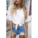 Womens Casual Plain White Trumpet-Sleeve Crew Neck Tied Hem Cropped T-Shirt