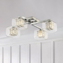 4/6 Lights Cube Semi Flush Lighting Glass and Metal Contemporary Ceiling Lamp for Living Room