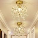 Golden Spiral Corridor Semi Flush Lamp Contemporary 1 Light Metallic Flush Ceiling Light Fixture with Crystal Drops