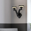 V Shaped Metal Sconce Light Country 2 Lights Bedroom Wall Lighting Fixture in Black