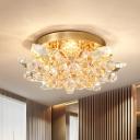 Irregular Crystal Flush Ceiling Light Minimal 4 Lights Gold/Silver Bedroom Flush Mounted Ceiling Light