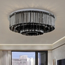 Contemporary 4-Tiered Flush Light Fixture Crystal 8/12 Lights Living Room Flushmount Light in Smoke Gray