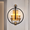 Metal Circle Wall Mount Lighting Vintage 2 Lights Brass Finish Wall Sconce Light with Rectangle Backplate