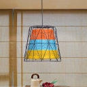 Country Wire Cage Pendant Light Metal and Rope 1 Head Indoor Hanging Lamp with Bucket Shade in White/Blue-Orange-Yellow