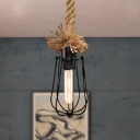 Industrial Bulb-Shaped Hanging Lamp Metal and Rope 1 Head Indoor Pendant Light with Wire Cage Shade in Black
