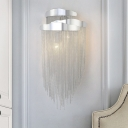 Tassel Metal Wall Mounted Light Postmodern 3 Lights Silver Wall Light Sconce for Bedroom
