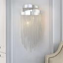Tassel Metal Wall Mounted Light Postmodern 3 Lights Silver Wall Light Sconce for Bedroom