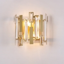 Contemporary Half-Cylinder Wall Sconce Light Crystal Block 1 Light Living Room Sconce Light in Gold